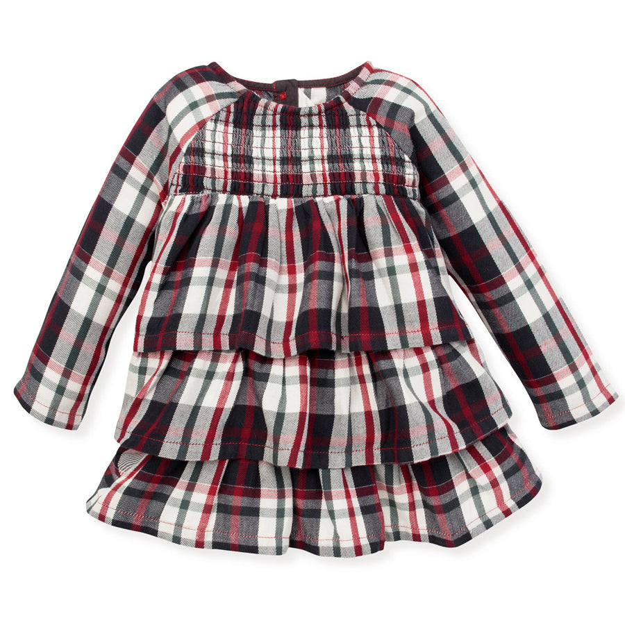 Twill Plaid Tiered Ruffle Organic Baby Holiday Dress - Burt's Bees Baby - joannas-cuties