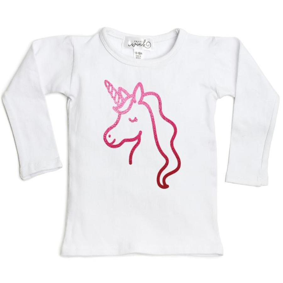 Unicorn Long Sleeve Shirt - White - Sweet Wink - joannas-cuties