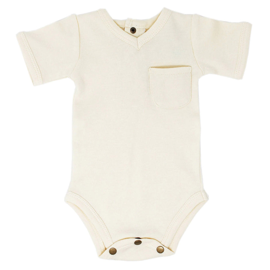 V-Neck Bodysuit in Beige-L'ovedbaby-Joanna's Cuties