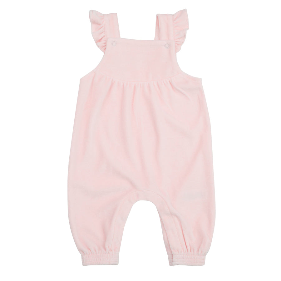 Velour Ruffle Overall Pink-Angel Dear-Joanna's Cuties