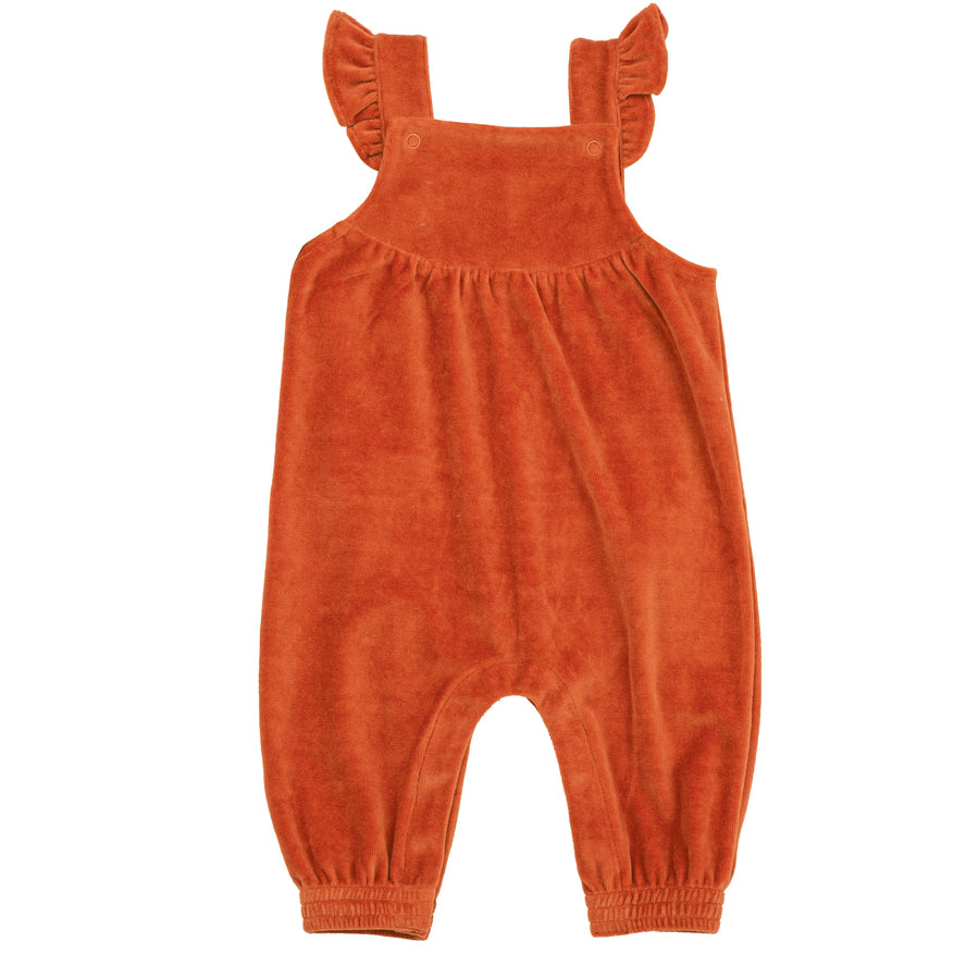 Velour Ruffle Overall Rust-Angel Dear-Joanna's Cuties