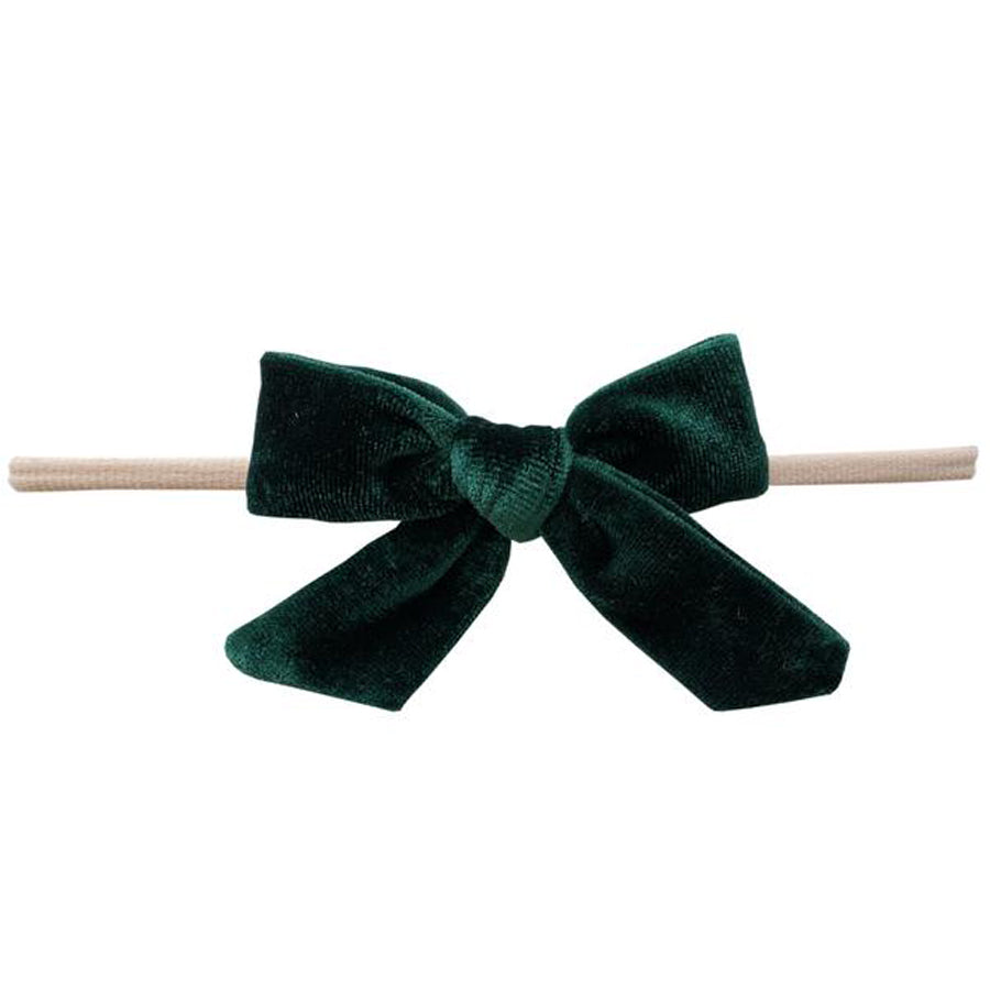 Velvet Bow Skinny Headband - Forest Green-Baby Bling-Joanna's Cuties