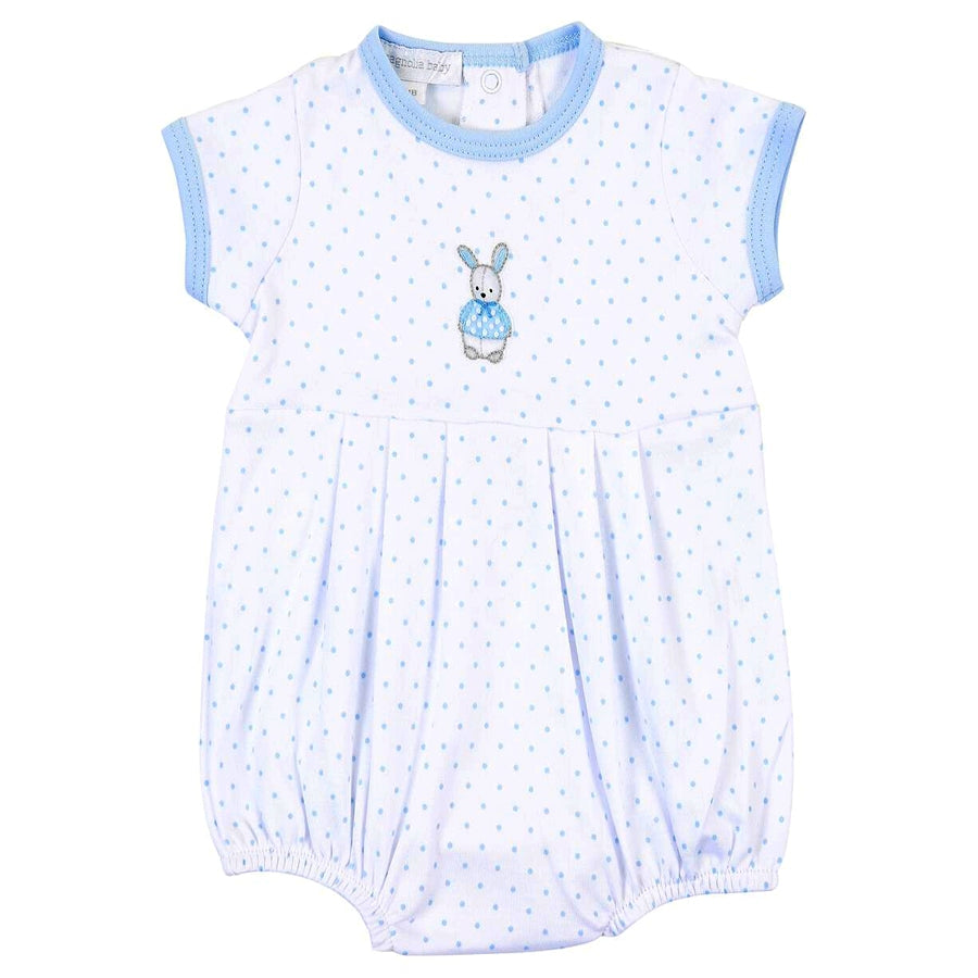 Vintage Polka Dot Bunny Blue Emb Boy Bubble