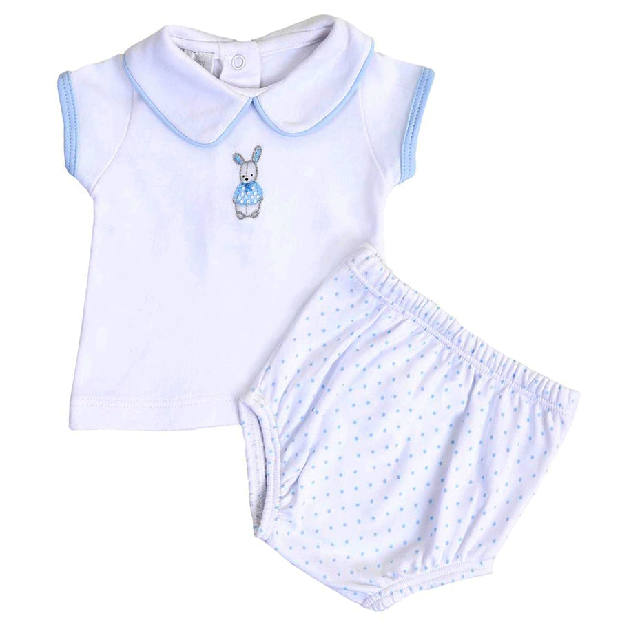 Vintage Polka Dot Bunny Blue Emb Collared Diaper Cover Set