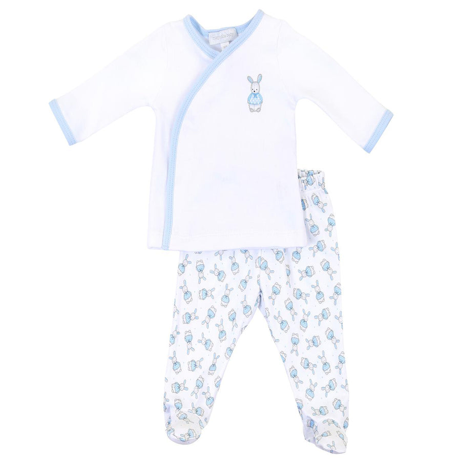 Vintage Polka Dot Bunny Blue Printed X-Tee Footed Pant Set