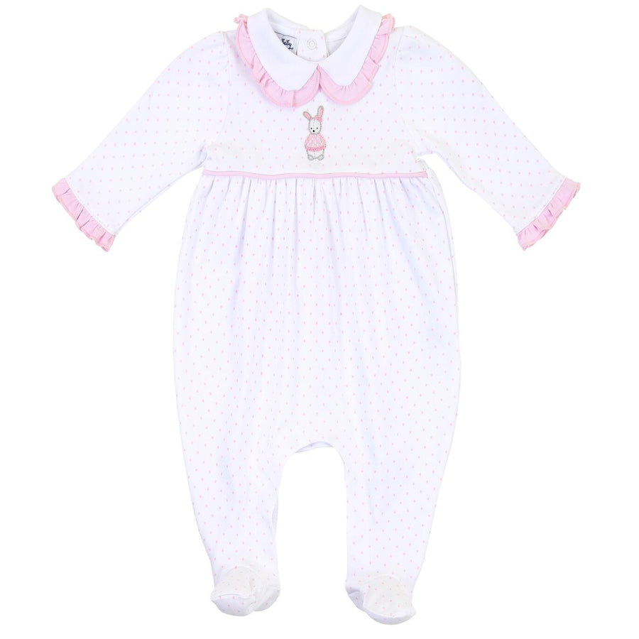 Vintage Polka Dot Bunny Pink Emb Collared Girl Footie