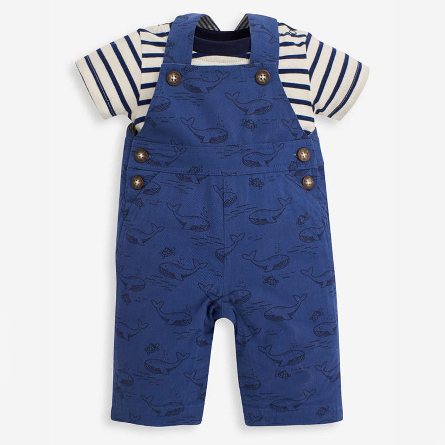 Whale & Turtle Print Dungarees Set
