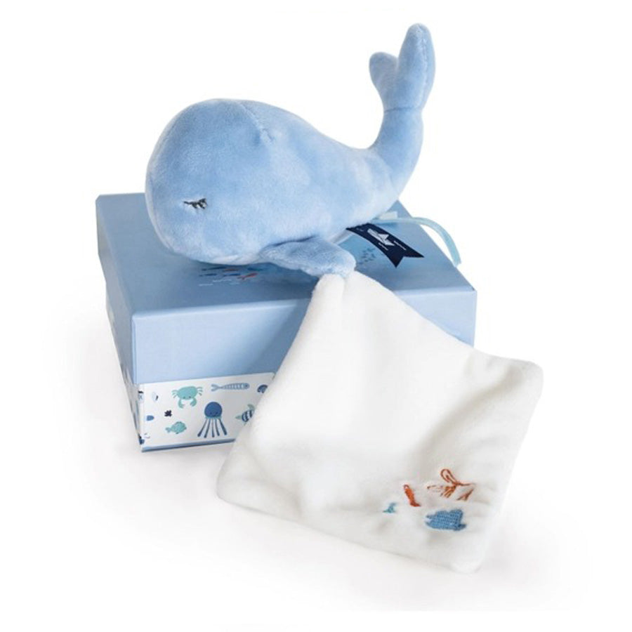 Under the Sea - Whale Plush With Blanket, Blue-Doudou Et Compagnie-Joanna's Cuties
