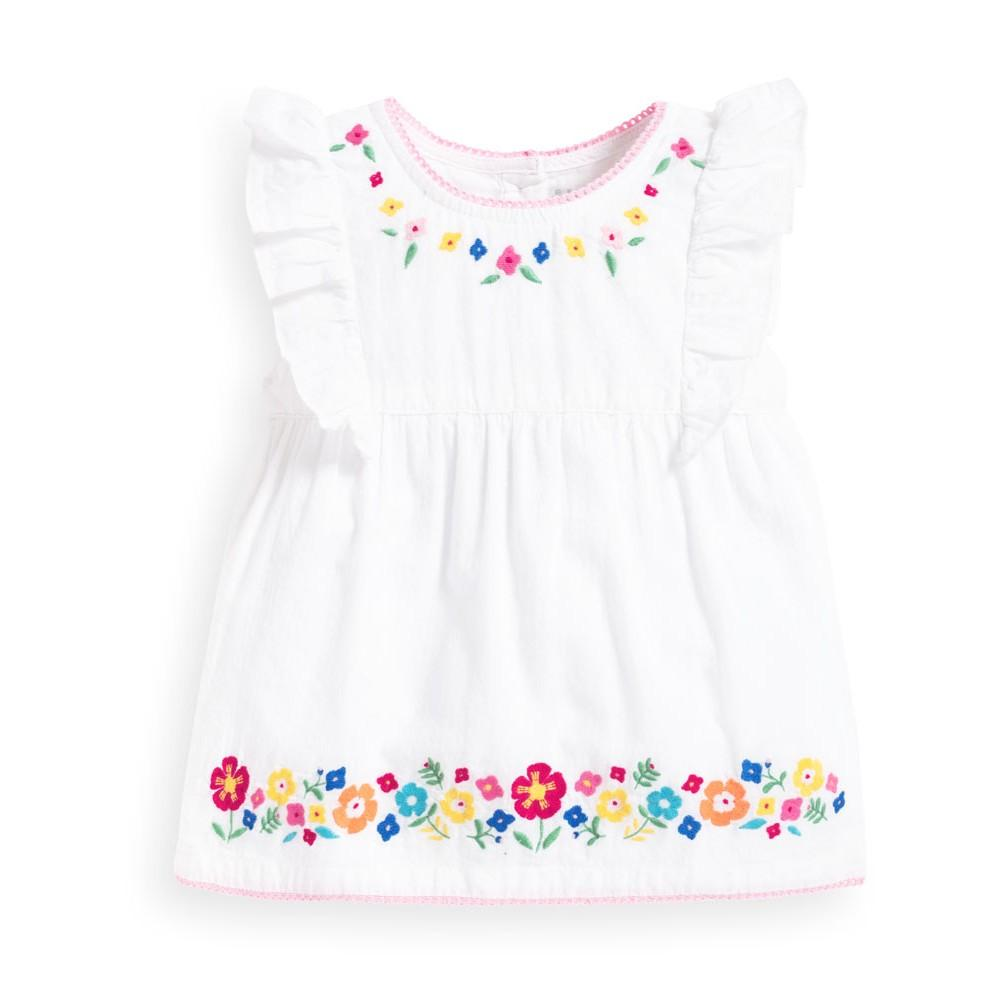White Embroidered Floral Top - JoJo Maman Bebe - joannas-cuties