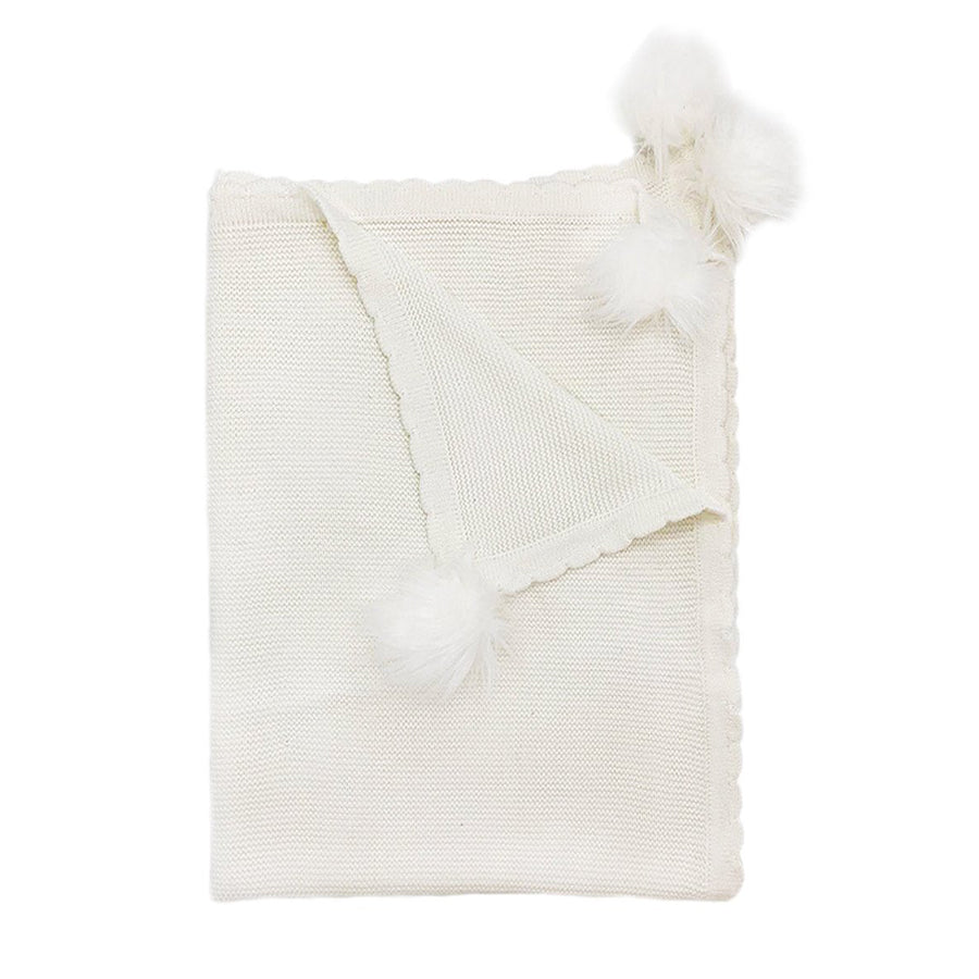 White Pom Pom Cotton Baby Blanket-Mon Ami-Joanna's Cuties