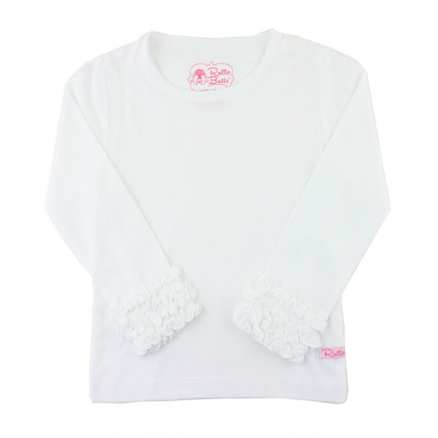 White Ruffled Long Sleeve Layering Tee - Ruffle Butts - joannas-cuties