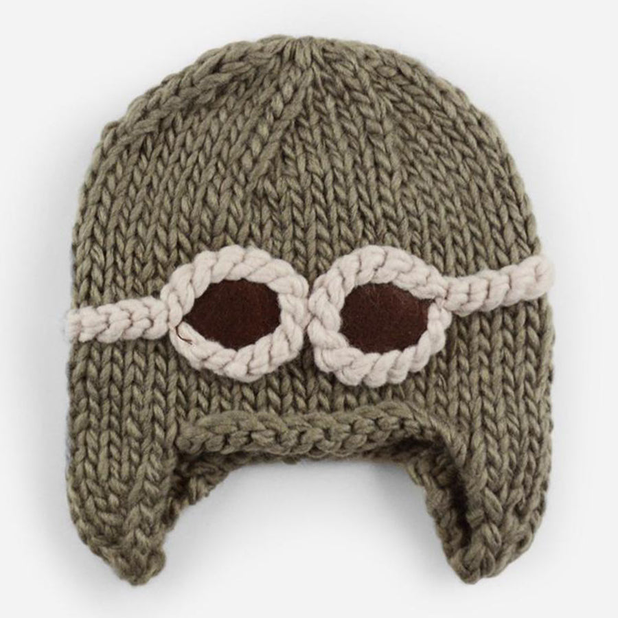 Wilbur Aviator With Goggles Knit Hat - Taupe-The Blueberry Hill-Joanna's Cuties