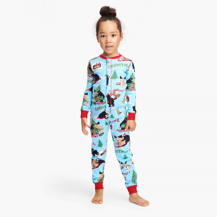 Wild About Christmas Kids Union Suit-Little Blue House-Joanna's Cuties