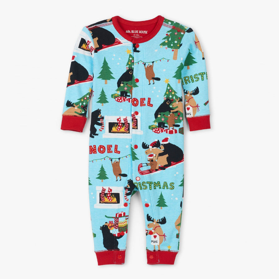 Wild About Christmas Baby Baby Suit-Little Blue House-Joanna's Cuties