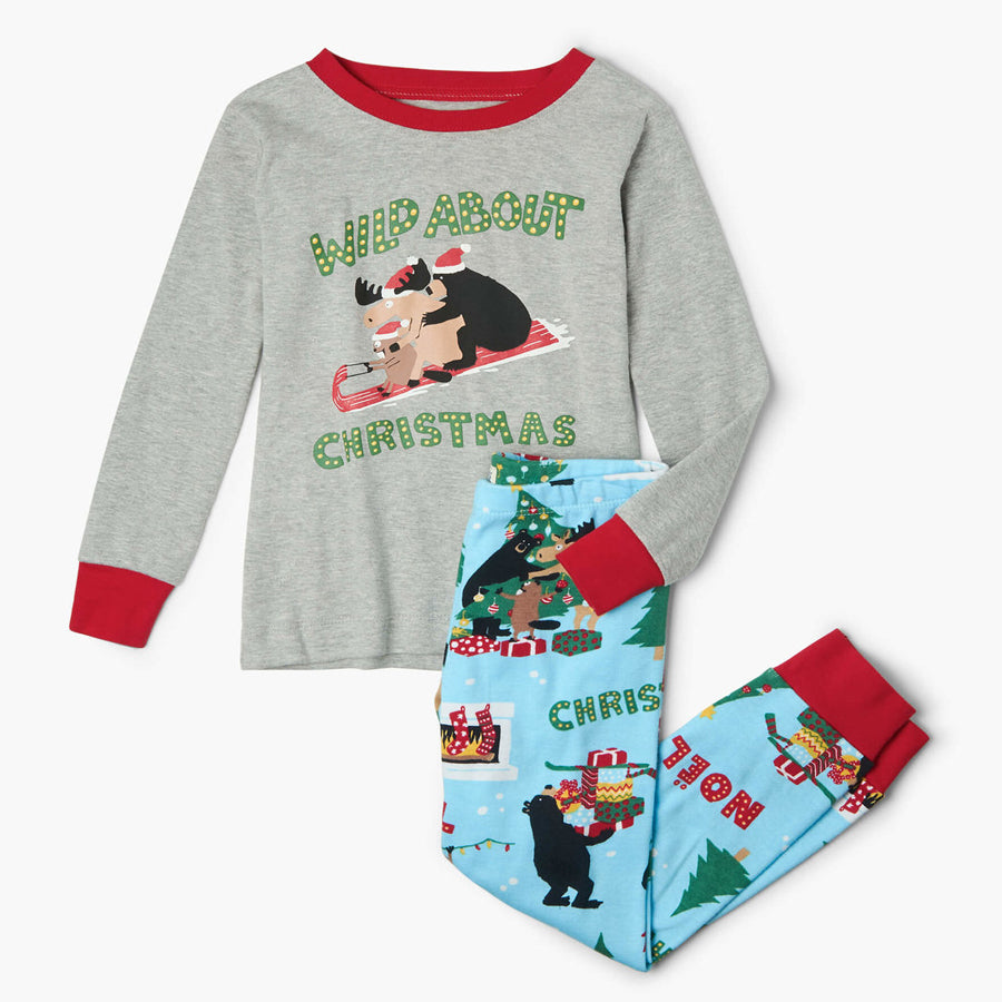 Wild About Christmas Kids Applique Pajama Set-Hatley-Joanna's Cuties