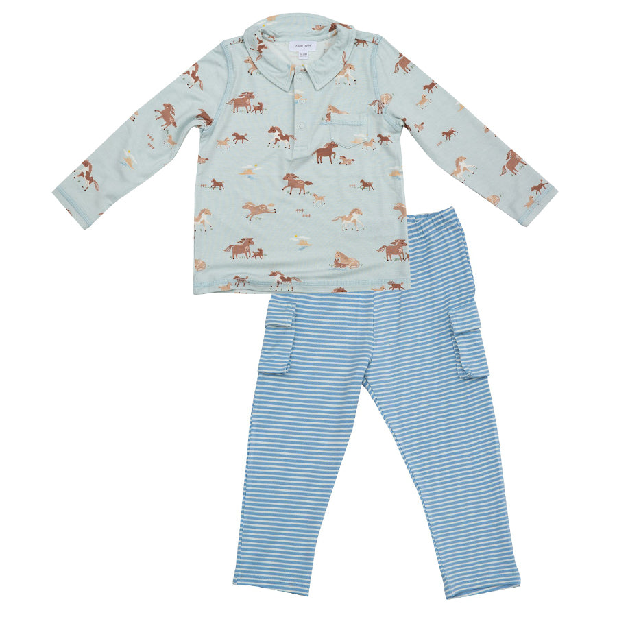 Wild Horses Polo Top And Pant Set-Angel Dear-Joanna's Cuties