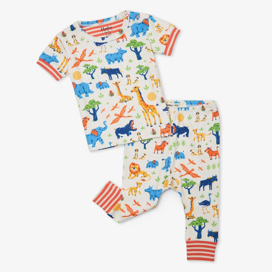 Wild Safari Organic Cotton Baby Short Sleeve Pajama Set-Hatley-Joanna's Cuties