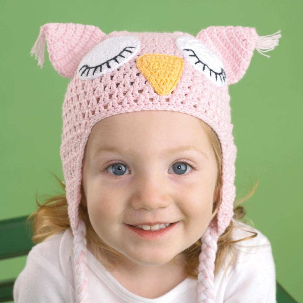 Owl Cotton Knit Hat in Pink-Zubels-Joanna's Cuties