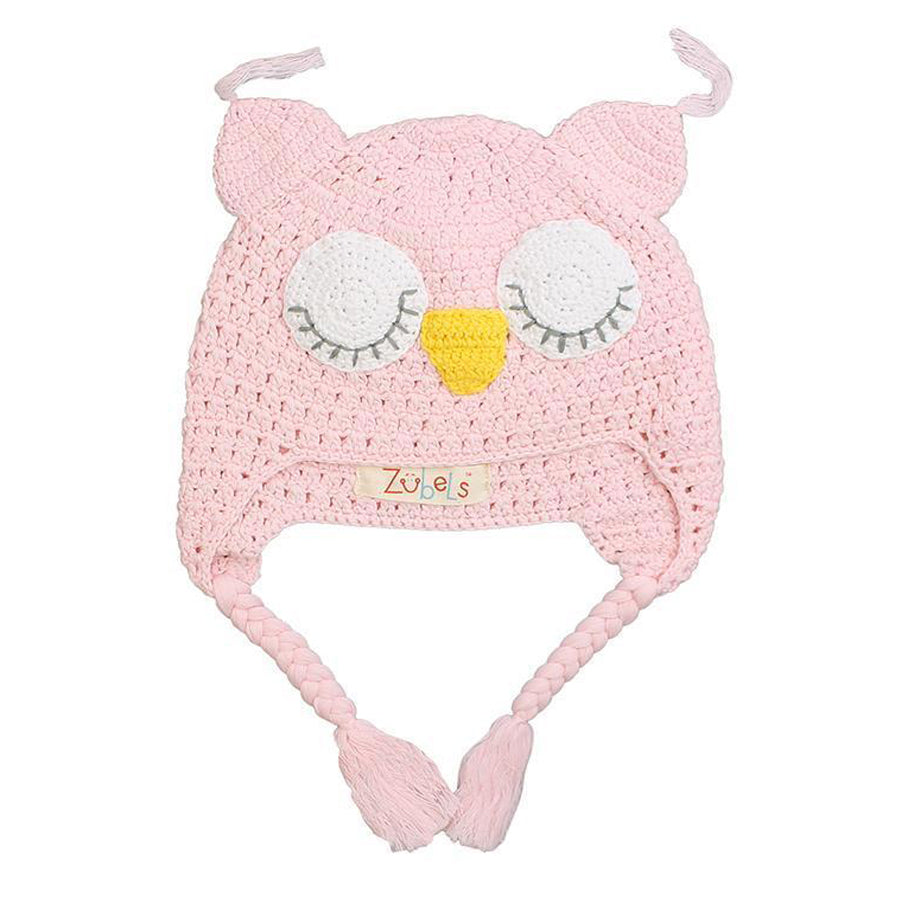 Owl Cotton Knit Hat in Pink - Zubels - joannas-cuties