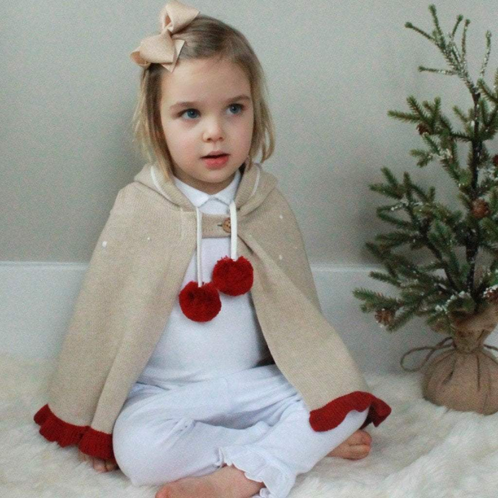 Reindeer Cotton Knit Poncho - Zubels - joannas-cuties