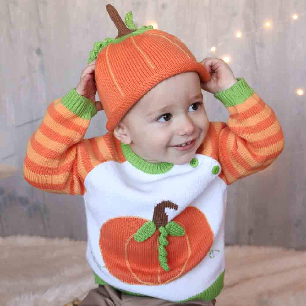 Pumpkin Cotton Knit Sweater - Zubels - joannas-cuties