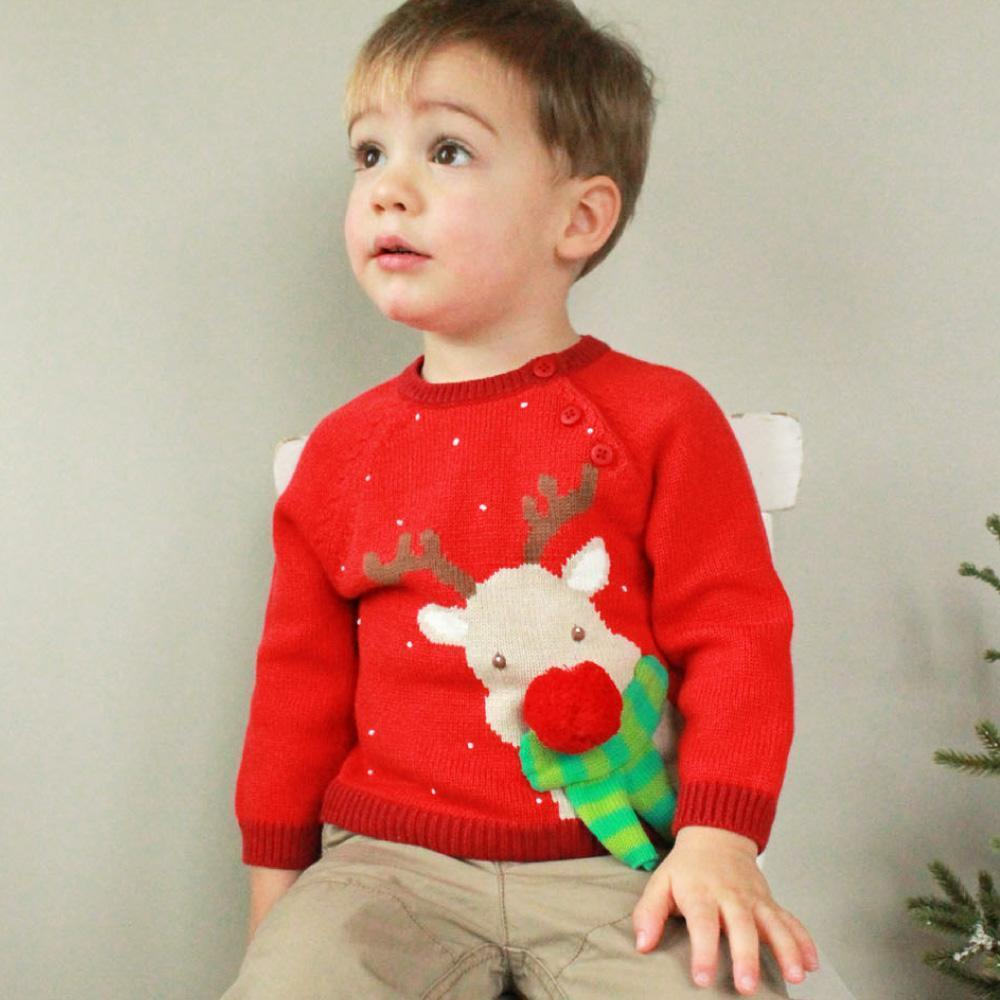 Reindeer Cotton Knit Sweater - Zubels - joannas-cuties