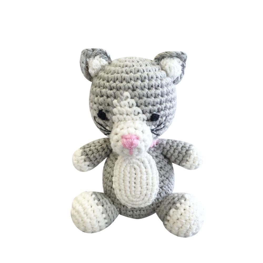 Cat Crochet Dimple Rattle, Zubels - Joanna's Cuties