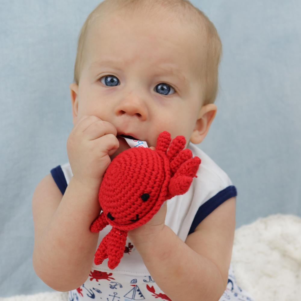 Crab Crochet Dimple Rattle, Zubels - Joanna's Cuties