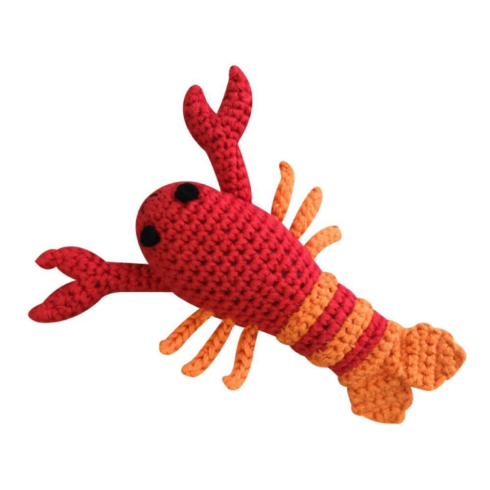 "Lobster Crochet Dimple Rattle - 4"" - Zubels - joannas-cuties"