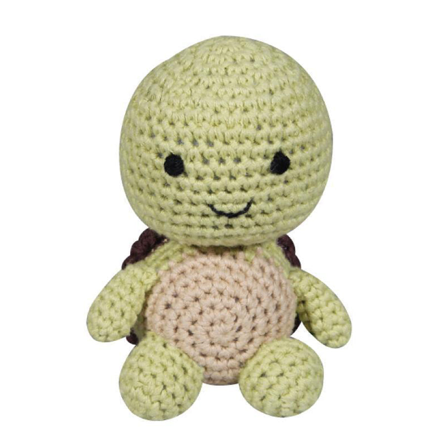 "Turtle Crochet Dimple Rattle - 4"" - Zubels - joannas-cuties"