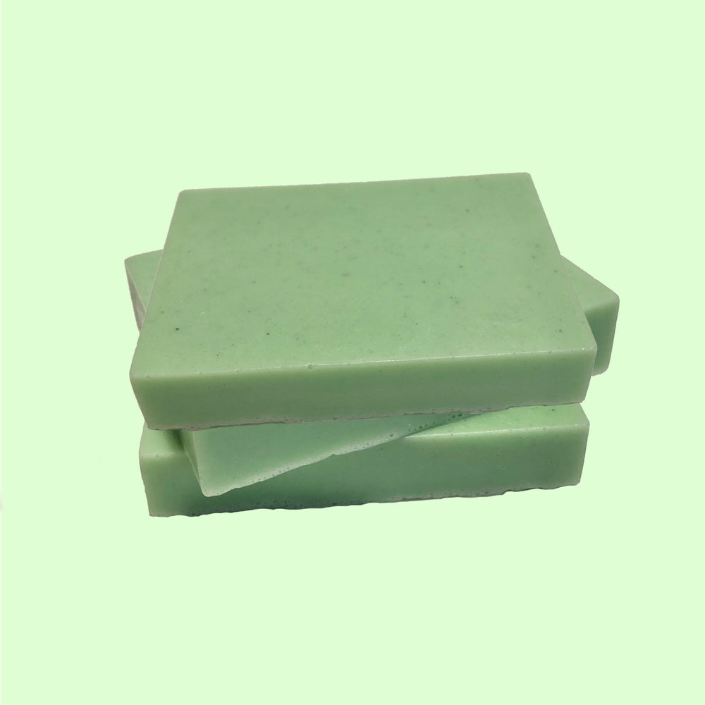 Handmade bar of soap with bergamot and lime scent