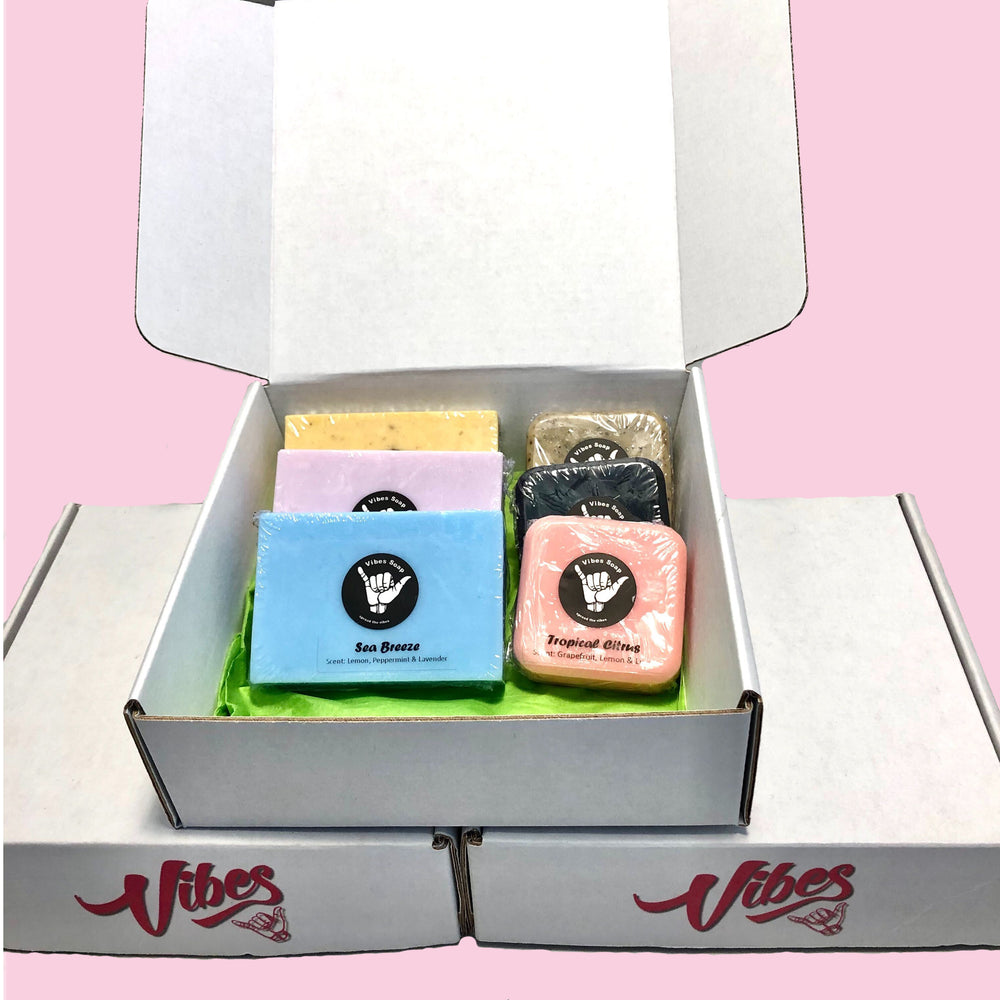 Gift box of various bars of soap for women