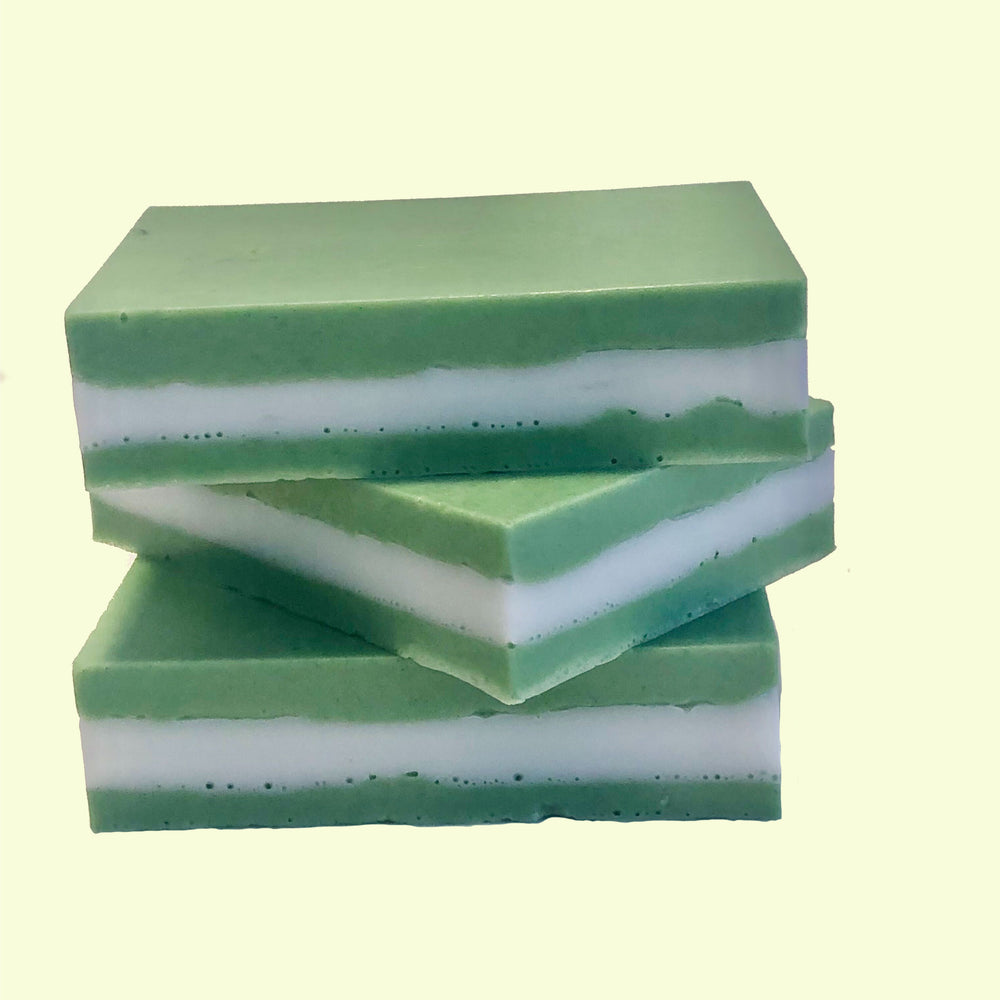 Handmade bar of soap made with peppermint essential oil