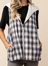 Load image into Gallery viewer, FLASH SALE: 2-in-1 Hooded Plaid Teddy Vest *2 left!