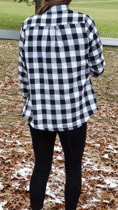 FLASH SALE! Cozy Lined Black&White Buffalo Flannel *1left!