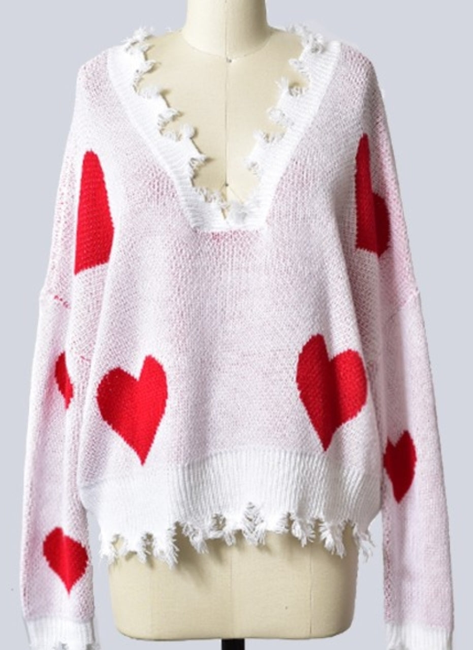 Sweetheart Distressed Sweater