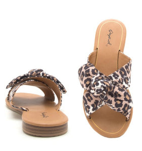 Qupid Leopard Bow Slides