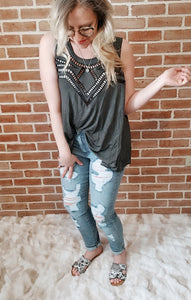 POL Charcoal Tribal Tank