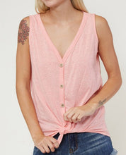 Load image into Gallery viewer, Keep It Cool Tie Front Tank (Coral)