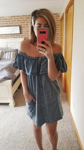Mineral Wash Off the Shoulder Dress