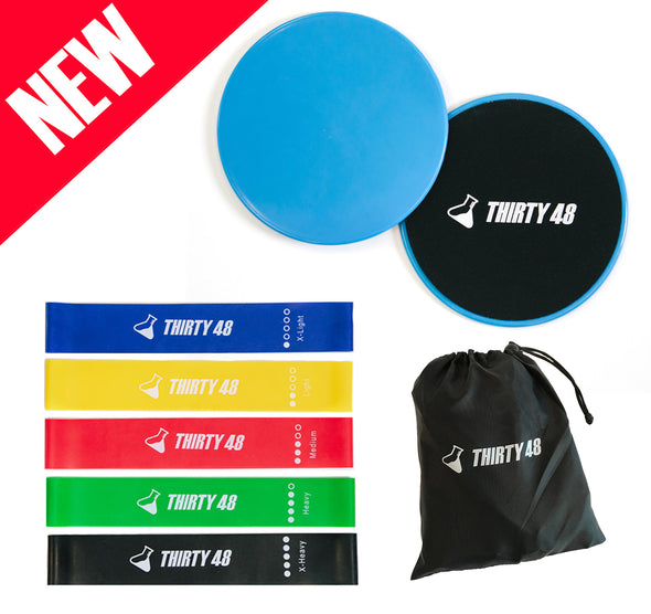 Gliding Discs Core Sliders + Exercise Resistance Bands
