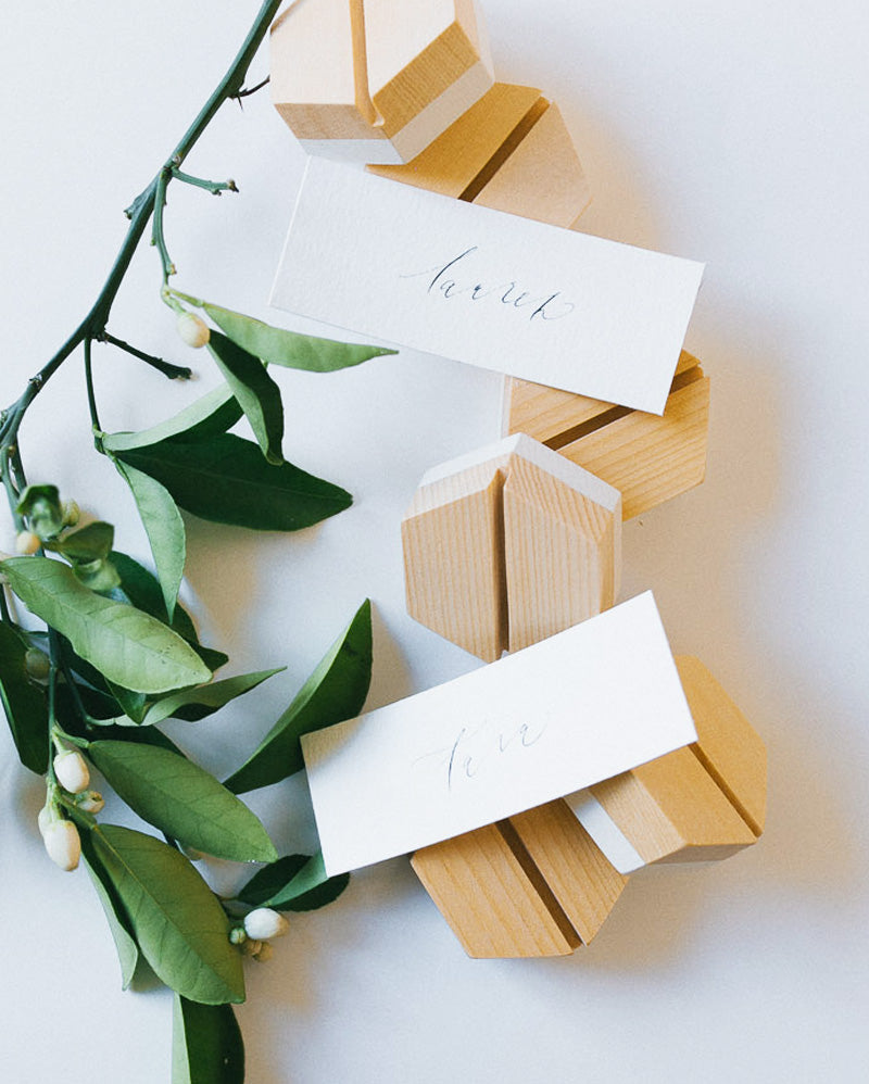 Cedar Hexagon Placecard Holders (Set of 6)
