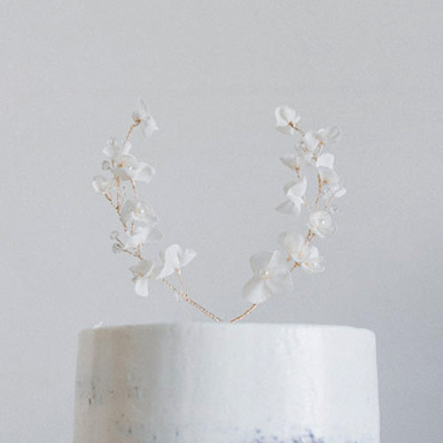 Chiffon Floral Wreath Cake Topper
