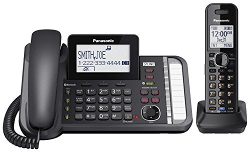 Panasonic KX-TG9581B DECT 6.0 2-Line 1-Handset Cordless Telephone, Black - Link2Cell; Caller ID; 3-way Conference; Up to 12 Handsets