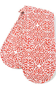 Kreative Kitchenry Double Oven Gloves Mitts, Red Swirls