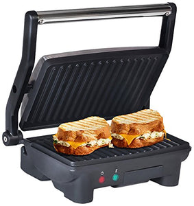 "Elite Platinum by Maxi-Matic EPN-2976 Electric Panini Press & Contact, Gourmet Sandwich Maker, Opens Flat 180-Degree Indoor Grill with Floating Hinge, 10.5"" x 9"", Stainless Steel"