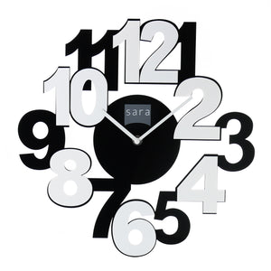 Kadra Frameless Black and White Wall Clock