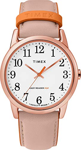 Timex Women's Easy Reader Date Leather Strap 38mm Watch, Pink