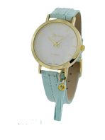 Geneva Charming Gold Watch with Mint Green Suede Band