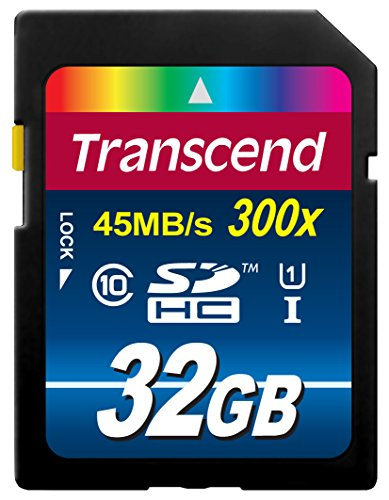 Transcend TS32GSDU1 32GB SDHC Class 10 UHS-1 Flash Memory Card Up to 45MB/s SD32GB